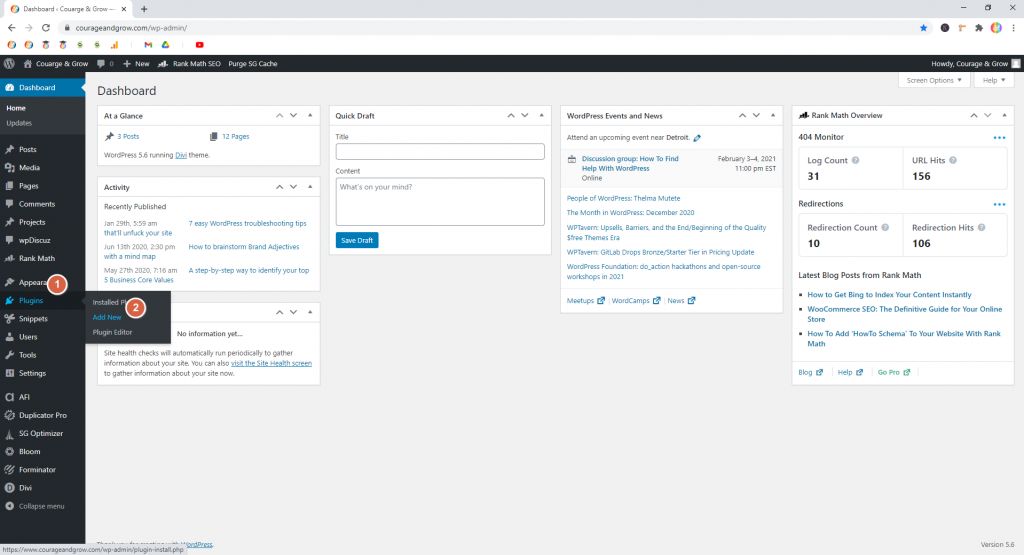 Screenshot showing how to get to the Plugin Repository  • WordPress Troubleshooting Tips