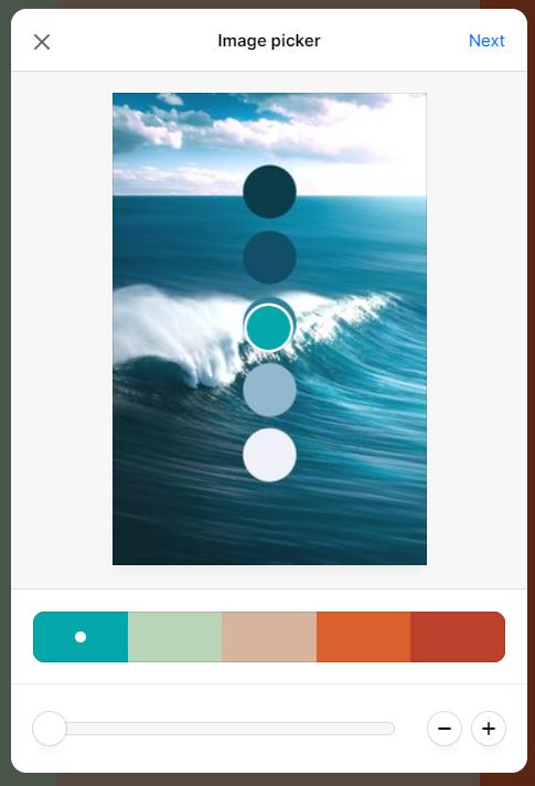 Screenshot showing image picker in coolors • Choose Website Colors