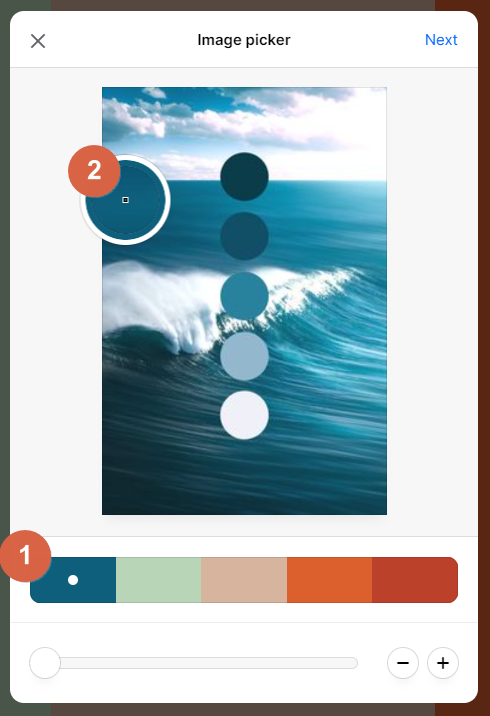 Screenshot showing how to identify a color in an image in coolors • Choose Website Colors