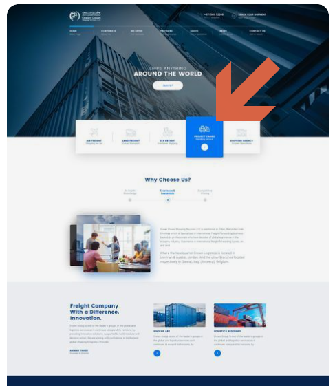 Screenshot showing a blue web layout with a bright blue color accent highlighted • Choose Website Colors