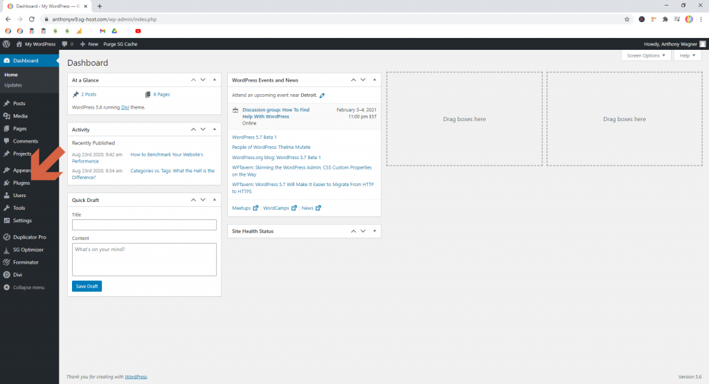 Screenshot showing how to get back to the plugins page • WordPress Troubleshooting Tips