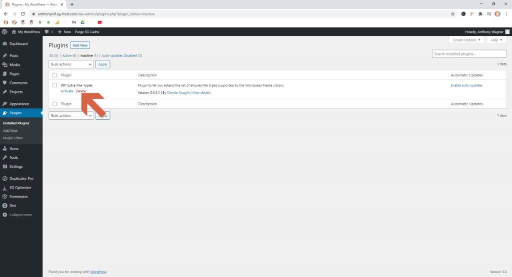 Screenshot showing how to delete inactive plugins • WordPress Troubleshooting Tips