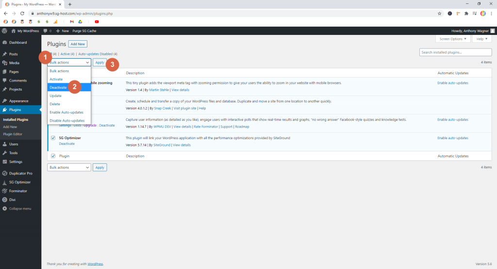 Screenshot showing how to deactivate plugins in batch • WordPress Troubleshooting Tips