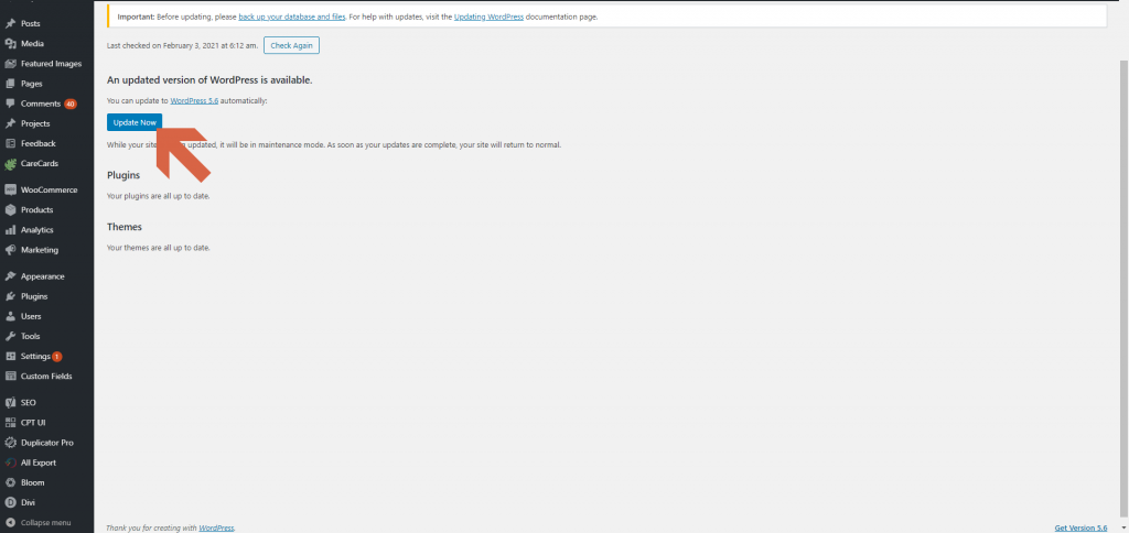Screenshot showing that an updated version of WordPress is available  • WordPress Troubleshooting Tips