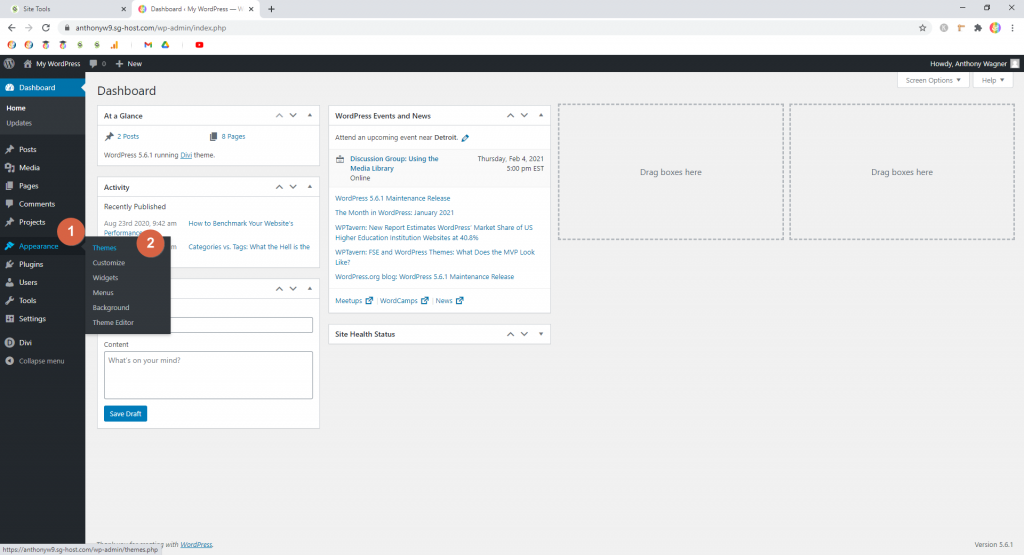 Screenshot showing how to get to themes dashboard • WordPress Troubleshooting Tips