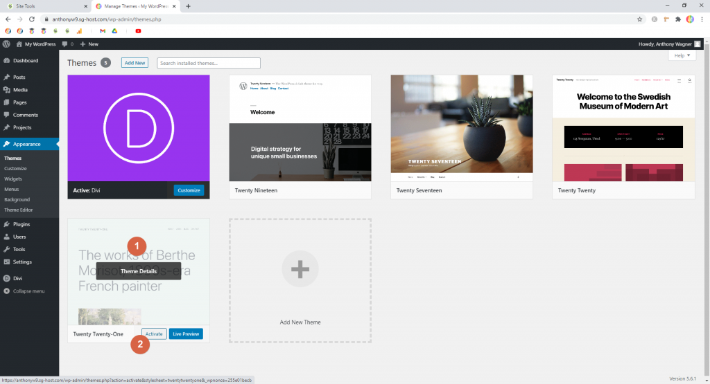 Screenshot showing how to activate a theme • WordPress Troubleshooting Tips