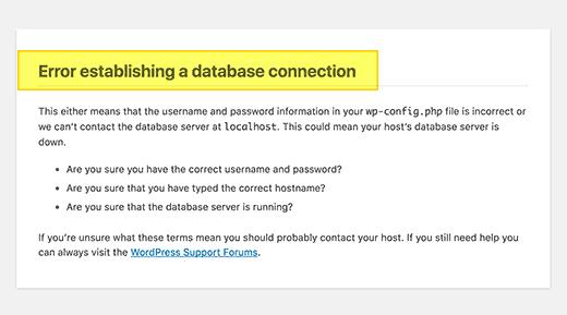 Screenshot showing a database connection error • WordPress Troubleshooting Tips