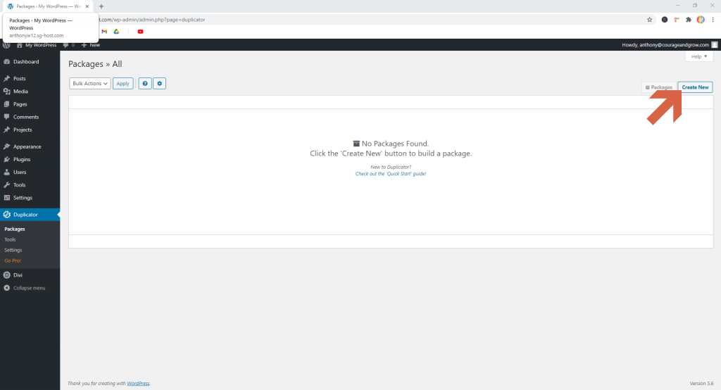 Screenshot showing how to create a new package in Duplicator  • WordPress Troubleshooting Tips