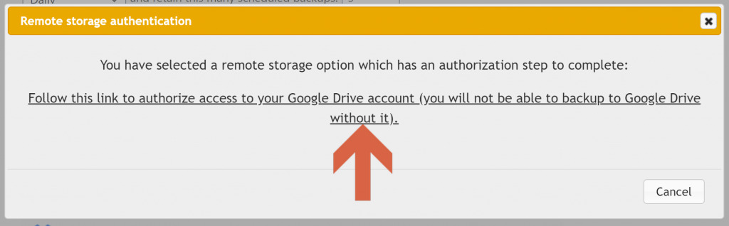 Screenshot showing updraftplus prompt which begins cloud storage authentication • Automatic WordPress Backups