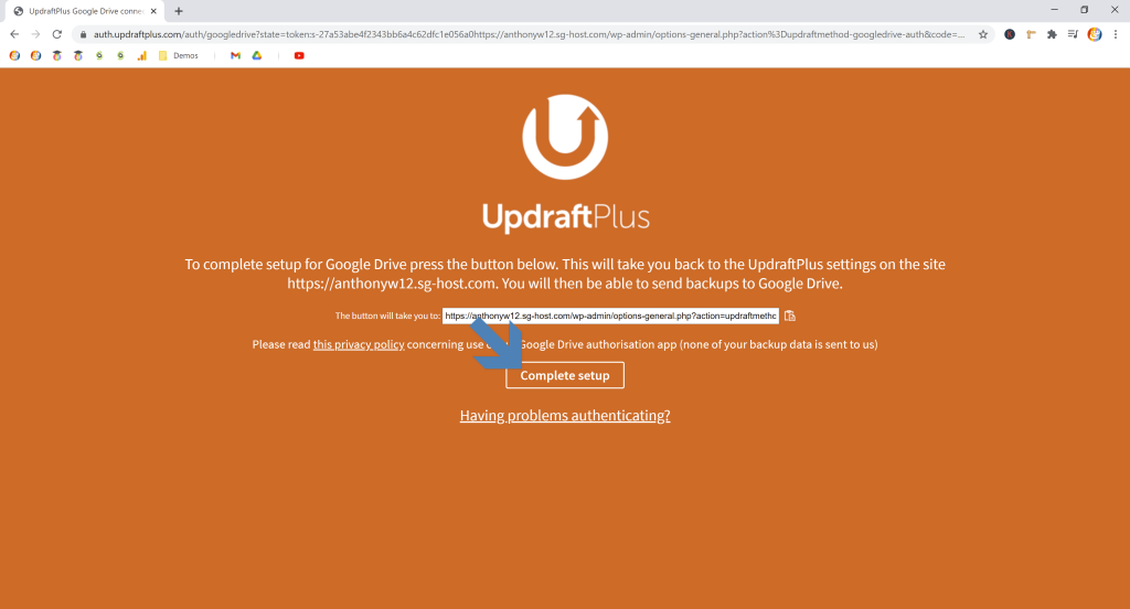 Screenshot showing updraftplus landing page for completing cloud storage authentication and returning to the plugin • Automatic WordPress Backups