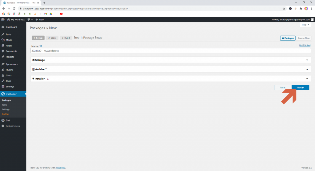 Screenshot showing how to continue creating a new package in Duplicator  • WordPress Troubleshooting Tips