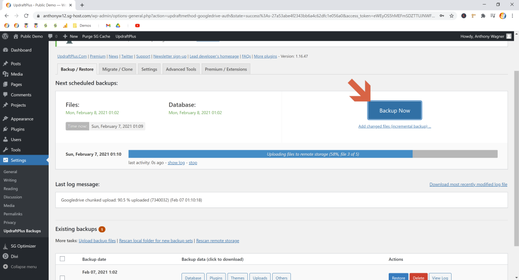 Screenshot showing the backup now button in updraftplus • Automatic WordPress Backups