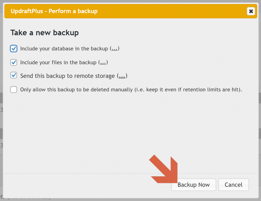 Screenshot showing which settings to select when triggering a manual backup in updraftplus • Automatic WordPress Backups
