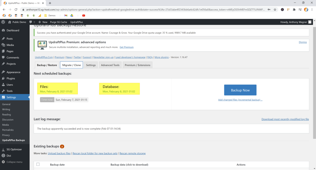 Screenshot showing which times updraftplus selected for my automatic backups • Automatic WordPress Backups