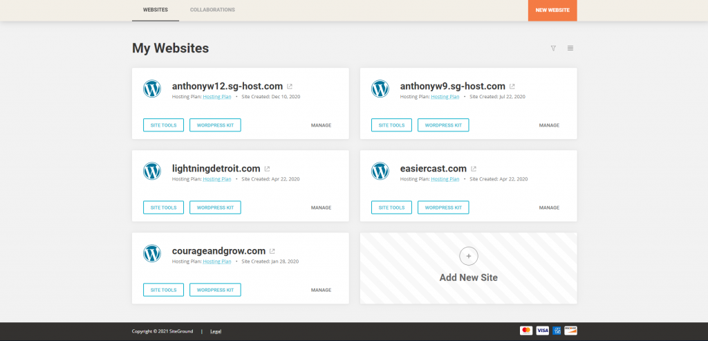 Screenshot showing my websites hosted in siteground as of february 2021 • Best Web Hosting for Entrepreneurs