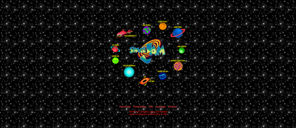 screenshot from spacejam.com —web design mistakes