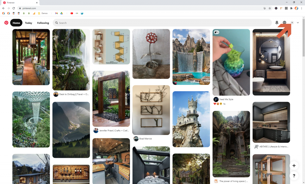 Screenshot showing profile icon in Pinterest • Choose Website Colors