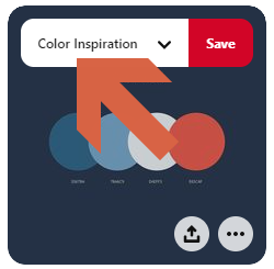 Screenshot showing how to change boards when saving pins in pinterest • Choose Website Colors