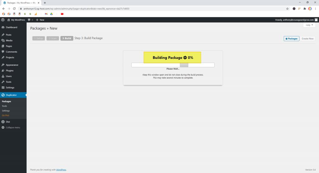 Screenshot showing a package being built in Duplicator  • WordPress Troubleshooting Tips