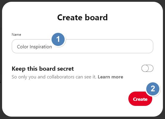 Screenshot showing the Create Board dialog in Pinterest • Choose Website Colors