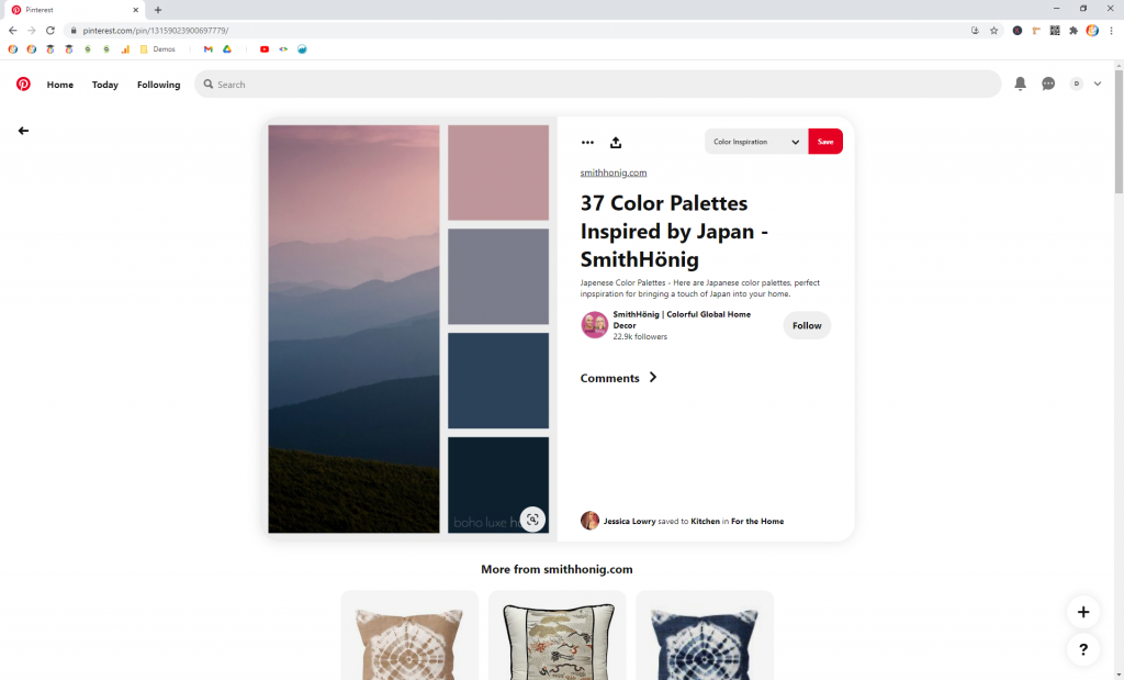 Screenshot showing how to find related pins in pinterest • Choose Website Colors