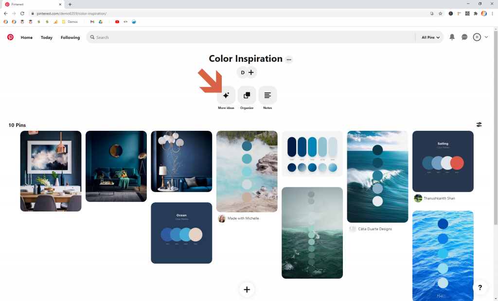 Screenshot showing how to find More ideas in pinterest • Choose Website Colors