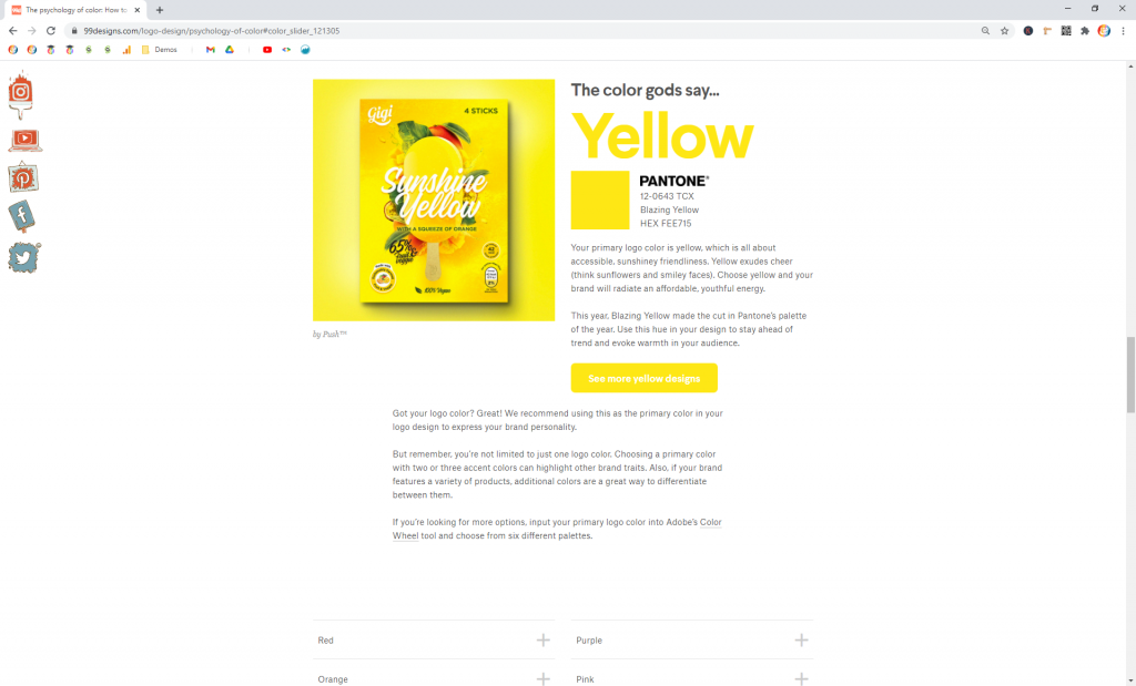 Screenshot showing 99d's selection of Yellow as a Primary Color • Choose Website Colors