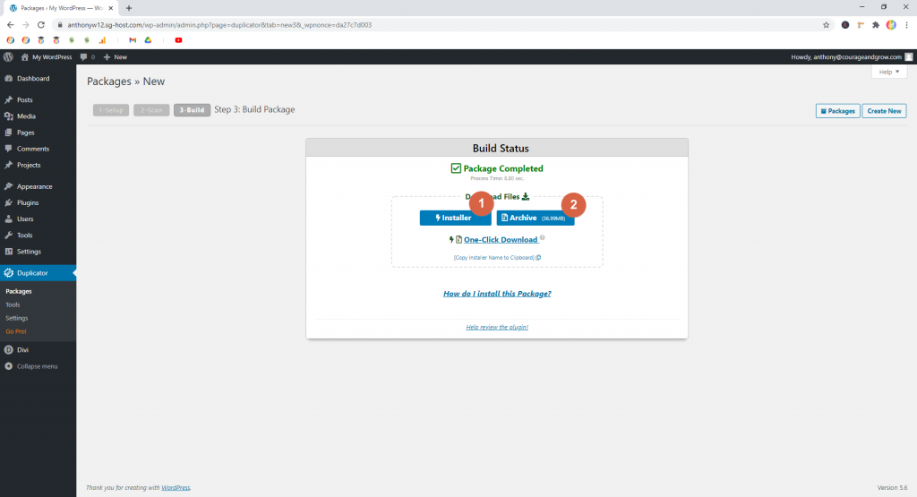 Screenshot showing how to download a built package in Duplicator  • WordPress Troubleshooting Tips