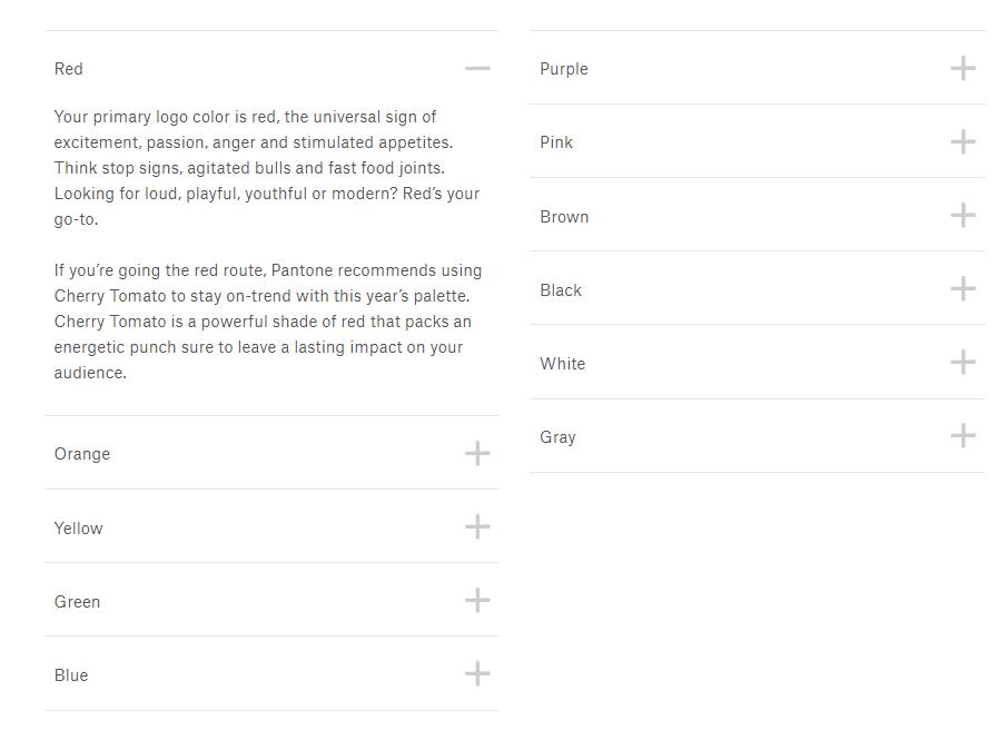Screenshot showing 99d's descriptions of the psychology of various colors • Choose Website Colors