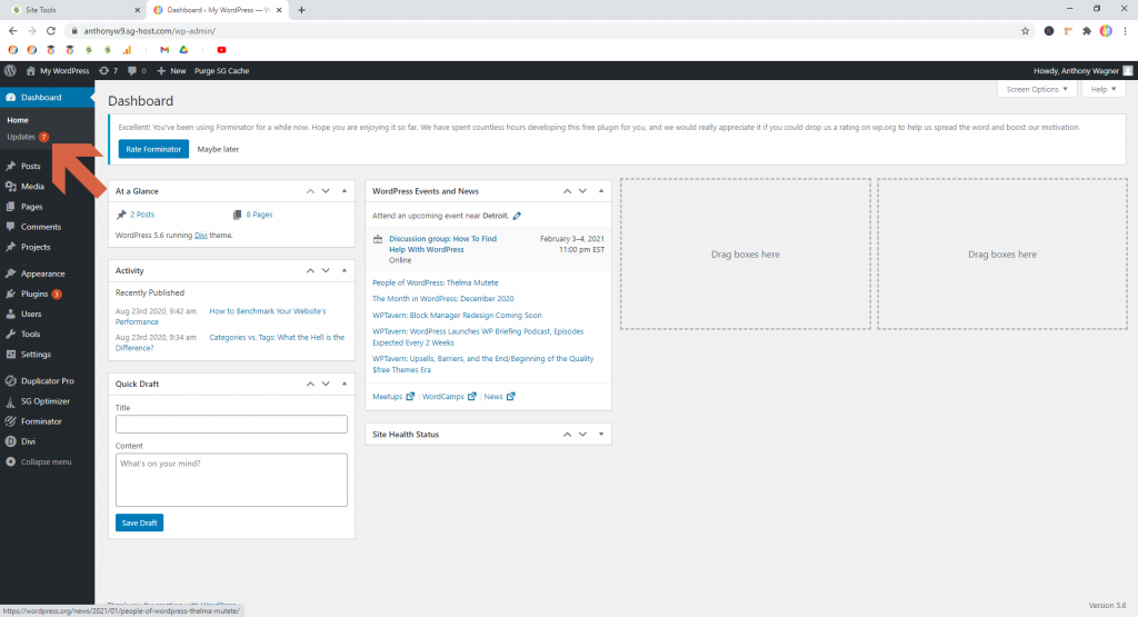 Screenshot showing that updates are available in a WordPress site  • WordPress Troubleshooting Tips