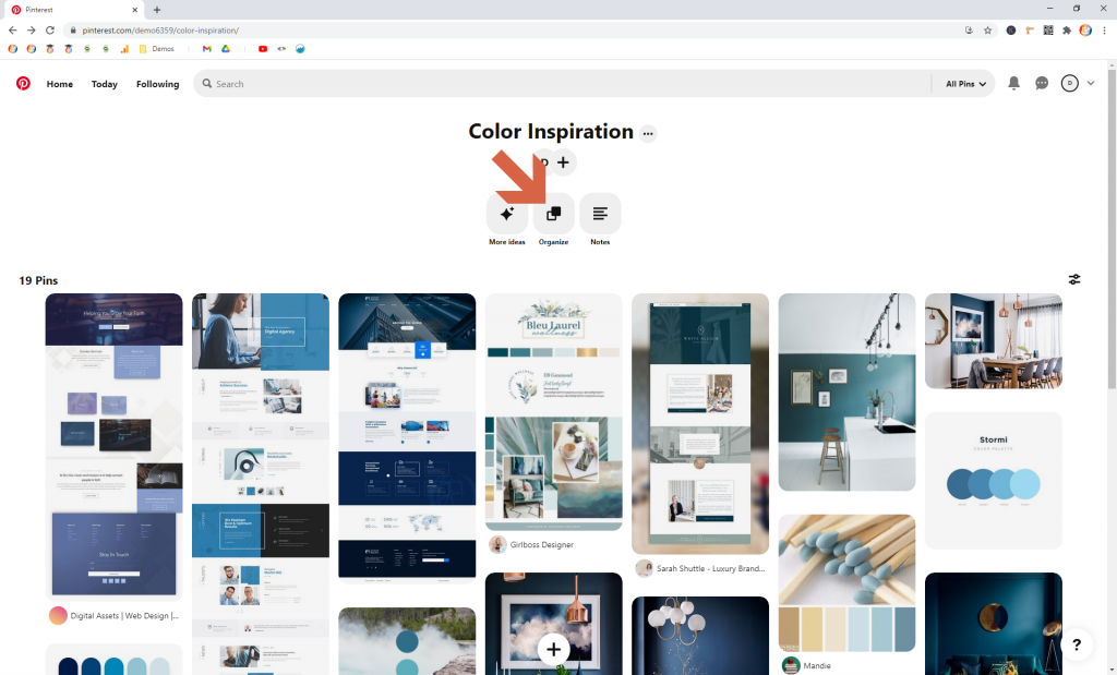 Screenshot showing the organize button in pinterest • Choose Website Colors