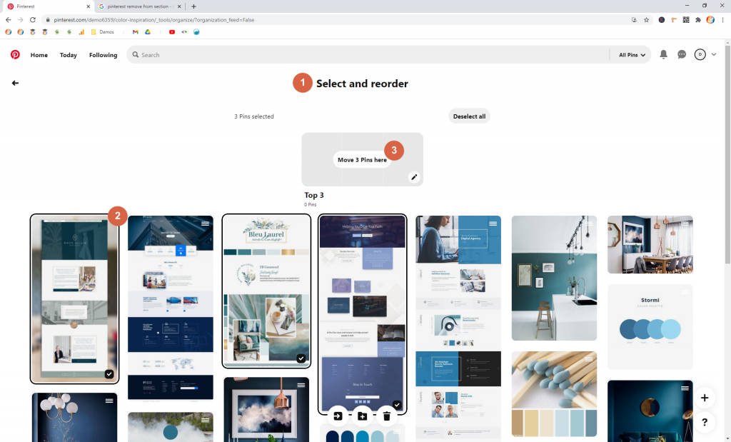 Screenshot showing how to create a section on a board in pinterest • Choose Website Colors