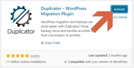 Screenshot showing how to activate the Duplicator plugin  • WordPress Troubleshooting Tips